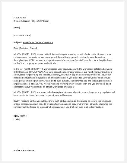 Reprimand Letter for Bad Attitude at Work | Word & Excel