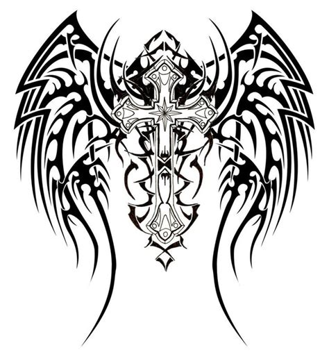 Wings Clipart Tribal Cross  Pencil And In Color Wings