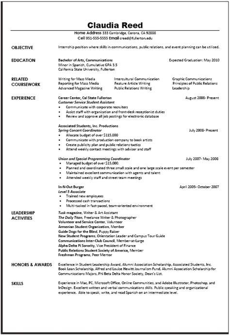 communications resume sample career center csuf