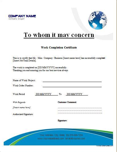 Work Completion Certificate Templates for MS WORD