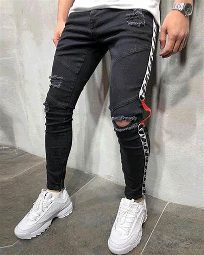 Ripped Jeans Skinny Sneakers Canvas Colored Tights