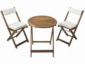 Ensemble Table 2 Chaises Pliantes Coussins GABBY