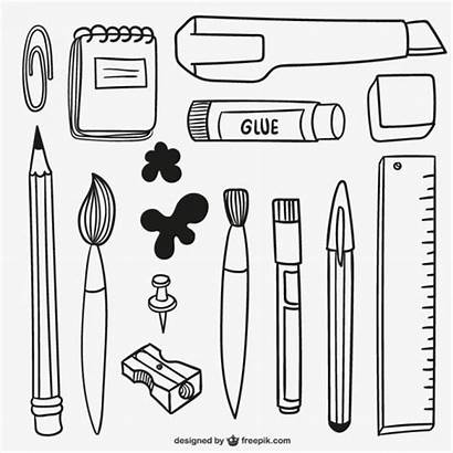 Materials Vector Drawn Hand Pencil Craft Freepik