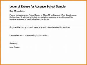 Excuse Note For  letter Of Excuse For Absence  Sample 286 2 png  LetterHead