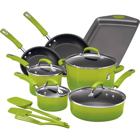 cookware ray piece rachael pots nonstick pans gradient enamel hard corporation stick non meyer brights walmart pan larger