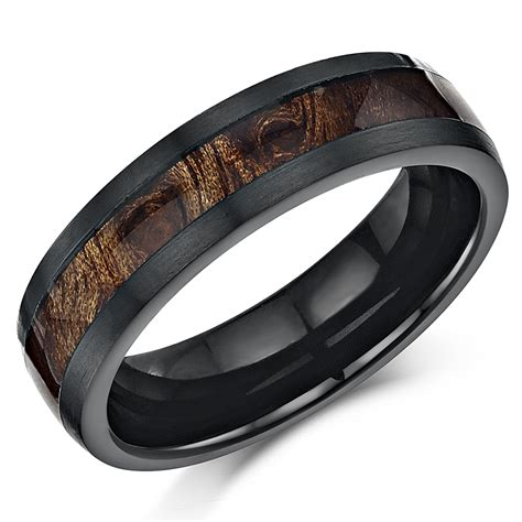 black titanium wedding ring band ring with koa inlay 6mm inlay rings at elma uk