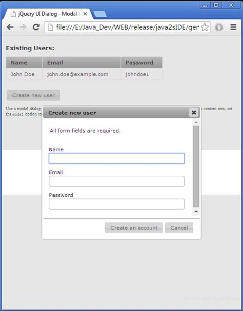 Jquery Resume Click Event by Build Jquery Ui Dialog Modal Form In Javascript