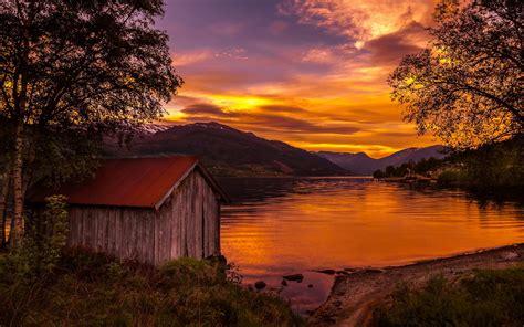 Norwegen, Natur Landschaft, See, Sonnenuntergang, Bäume