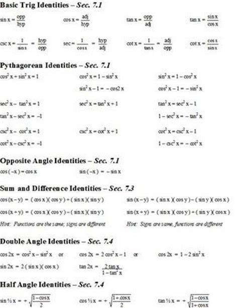 best 25 trig identities sheet ideas on pinterest trigonometry math cheat sheet and algebra help