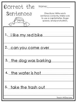 10 correct the sentences printable worksheets in pdf file 1st grade 2nd grade