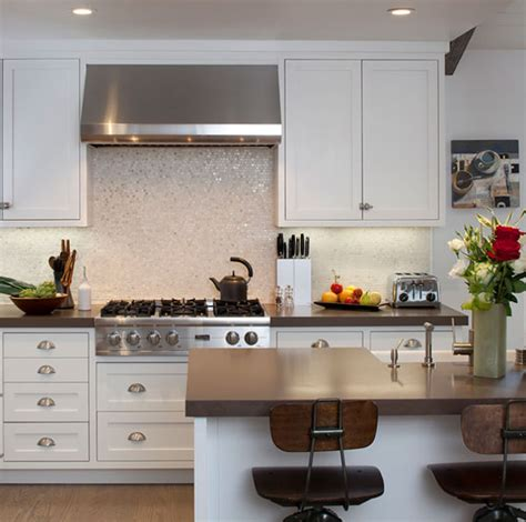 Groutless Subway Tile Backsplash by White Groutless 1 X 1 Of Pearl Shell Tile Kitchen