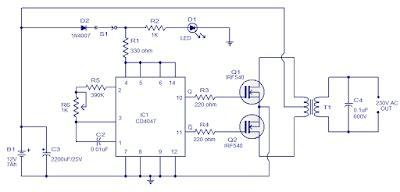 kumpulan rangkaian inverter sederhana dan elektronika hobby untuk penghoby elektronika