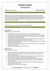 Qa Team Lead Resume Samples