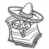 Coloring Mexican Cinco Mayo Fiesta Sombrero Cactus Hat Caracas Celebrate Clipart sketch template