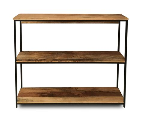 Low Height Bookshelf by Light Mango Wood Industrial Shelving Unit Casa