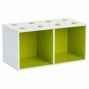 Meuble De Rangement Cube : meuble de rangement empilable 2 cubes abc vert ~ Melissatoandfro.com Idées de Décoration