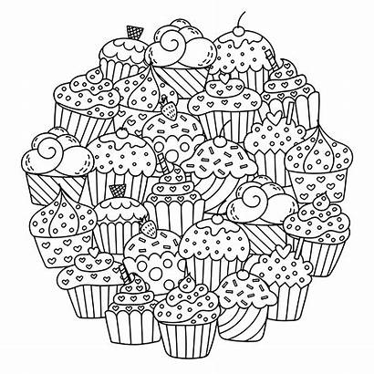 Cupcakes Mandala Cakes Coloring Cup Circle Mandalas