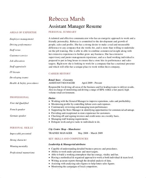 sample retail management resume  examples  word