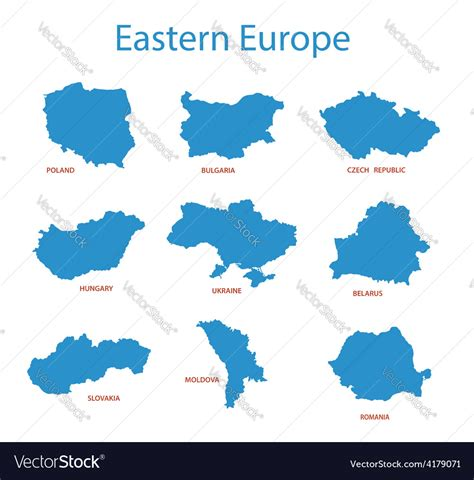 eastern europe maps  territories royalty  vector