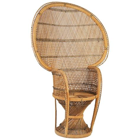large vintage bohemian 1970s wicker emmanuel peacock chair
