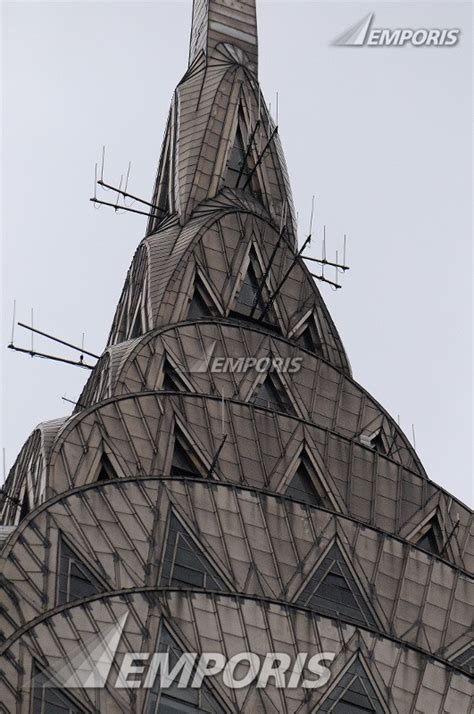Close Up To Buildings Spire Chrysler Building New York