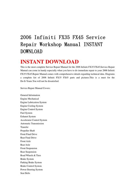 online service manuals 2006 infiniti m engine control 2006 infiniti fx35 fx45 service repair workshop manual instant download by jnshefjnse issuu