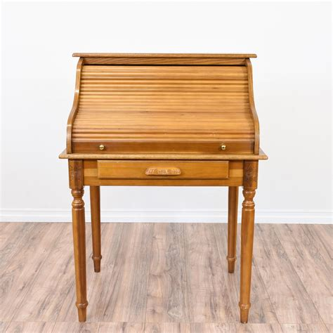 Small Light Wood Desk by This Small Roll Top Desk Is Featured In A Solid Wood With