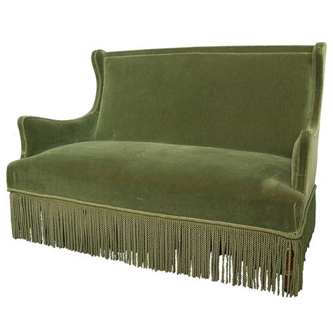 Green Settee by 19th Century Green Velvet Settee At 1stdibs