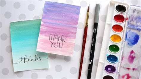Creative Interior Painting Ideas Easy Diy Thank You Cards Ombré Watercolor Youtube