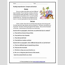 Reading Comprehension Compare And Contrast Worksheet For 2nd  3rd Grade  Lesson Planet