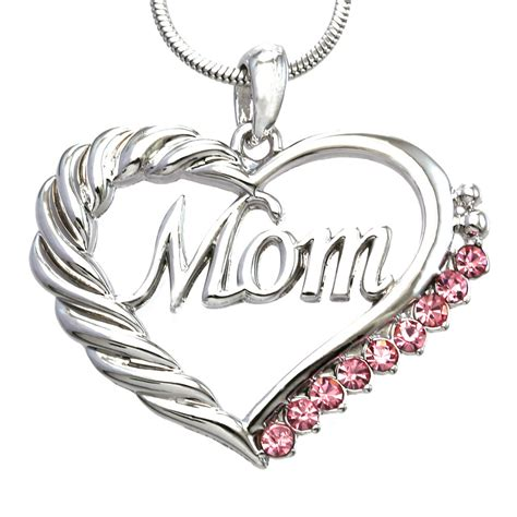 pink heart mom necklace love pendant women mothers day