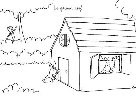 dans la maison un grand cerf coloriage 224 imprimer coloriage chanson dans sa maison un grand cerf