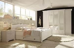 SchlafKONTOR Cinderella Schlafzimmer Kiefer Wei Mbel