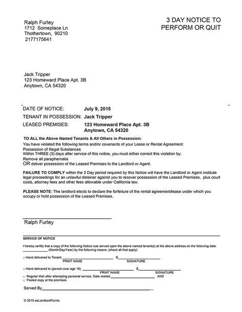 california  day notice  perform  quit ez landlord