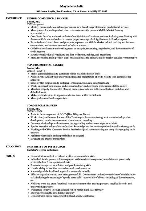 Banker Resume by Commercial Banker Resume Sles Velvet