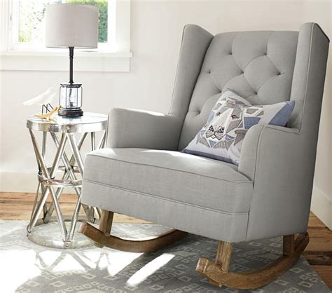 nursery furniture rocking chairs modern tufted wingback rocker stylish nursery chairs pottery barn