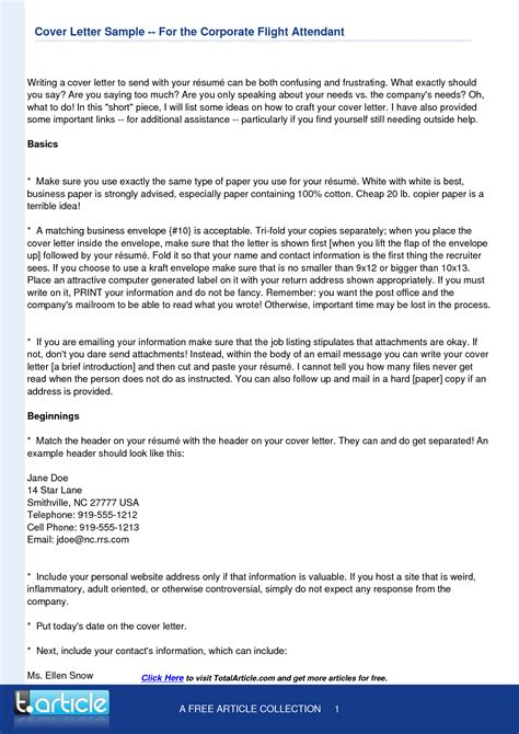 flight attendant cover letter template resume cover