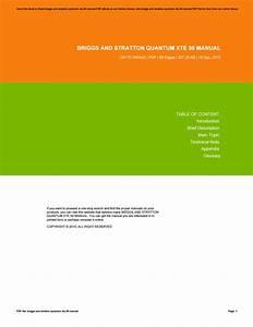 Briggs And Stratton Quantum Xte 50 Manual By Geraldine
