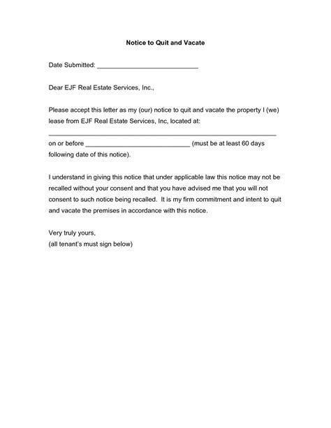 sample notice  tenant vacate apartment latest
