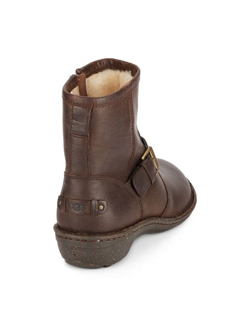 brown moto boots ugg bryce leather moto boots in brown lyst