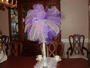 create your own wedding registry items similar to purple deco mesh centerpiece with gold