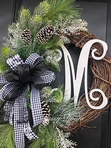 Winter, Wreath, Pine, Winter, Wreath, Monogram, Wreath, With, Snow, Winter, Door, Wreath, Front, Door