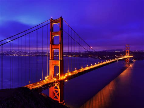 golden gate bridge blue night suspension bridge  san
