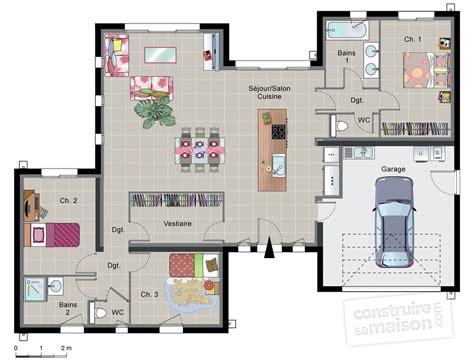 meuble haut cuisine avec porte coulissante maison contemporaine de plain pied dé du plan de