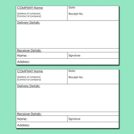 delivery receipt templates  word excel