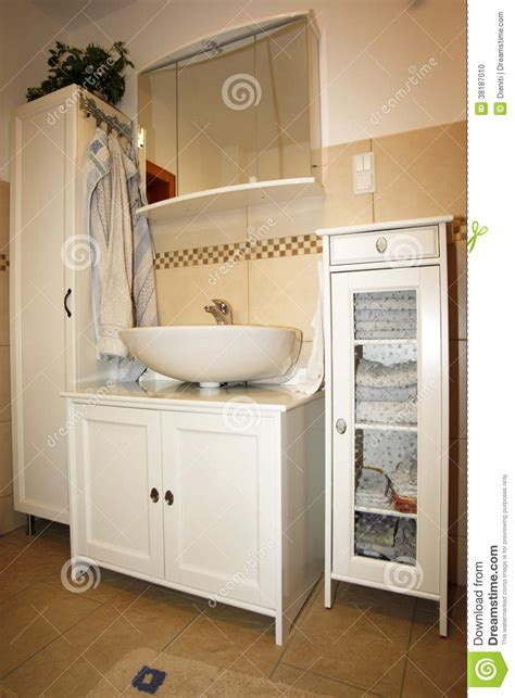 New Bathroom In Beige Brown Colours Stock Photo   Image