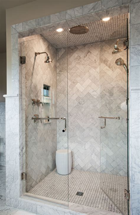 Love this marble herringbone shower   Source marble tiles