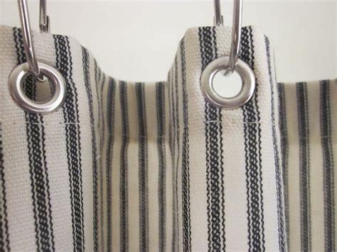 ticking stripe shower curtain black brown grey navy blue