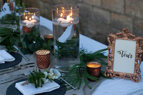 copper and grey wedding styling centrepieces table decorations