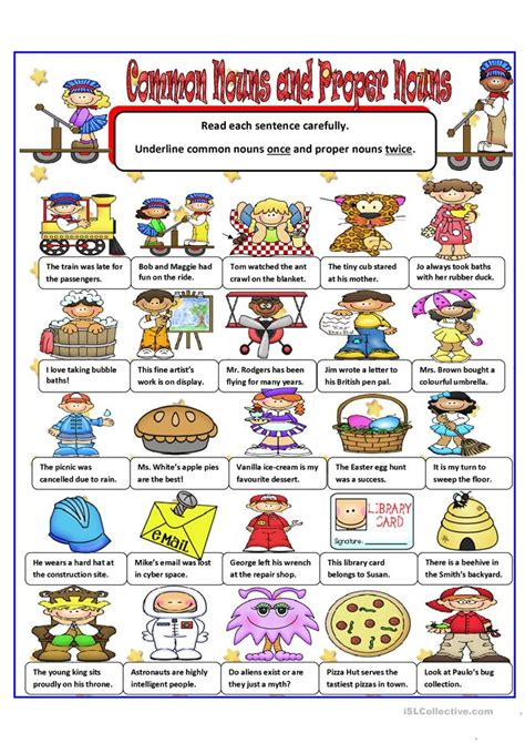 common  proper nouns worksheet  esl printable